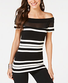 I.N.C. Petite Illusion-Yoke Off-The-Shoulder Top, Created for Macy's