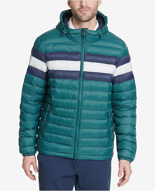 Tommy Hilfiger Men's Big & Tall Colorblocked Hooded Ski Coat, Created for Macy's