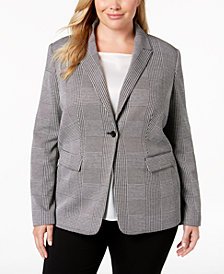 Calvin Klein Plus Size One-Button Plaid Jacket