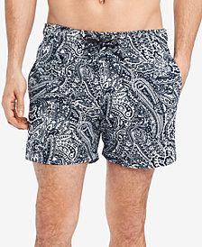 """Tommy Hilfiger Men's Paisley-Print 6.5"""" Swim Trunks, Created for Macy's"""