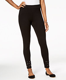 JM Collection Petite Embellished-Hem Skinny Pants, Created for Macy's