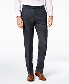 Lauren Ralph Lauren Men's Classic-Fit UltraFlex Stretch Charcoal/Blue Pinstripe Suit Pants