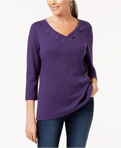 4 Cassis Created Detail Macy's for Sleeve Scott Cotton 3 Top Grommet Karen EqFfUSc