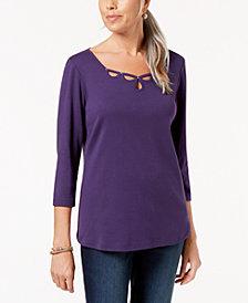 Karen Scott Studded Cutout Cotton Top, Created for Macy's