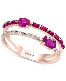 EFFY® Certified Ruby (7/8 ct. t.w.) & Diamond Accent Two-Row Ring in 14k Rose Gold