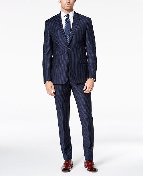 DKNY Men's Modern-Fit Navy Pinstripe Suit Separates