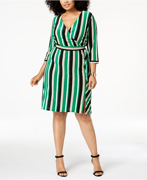 526965d521d INC International Concepts I.N.C. Plus Size Striped Faux-Wrap Dress ...