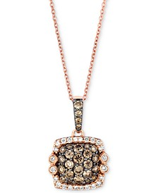"Le Vian Chocolatier® Diamond Square Cluster 18"" Pendant Necklace (7/8 ct. t.w.) in 14k Rose Gold"