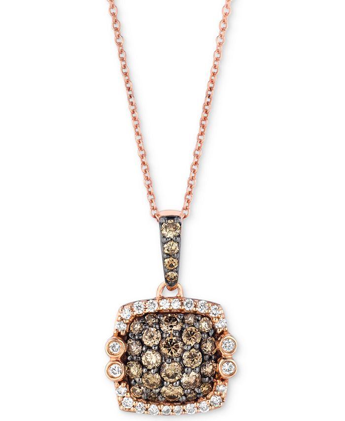 "Le Vian - Diamond Square Cluster 18"" Pendant Necklace (7/8 ct. t.w.) in 14k Rose Gold"