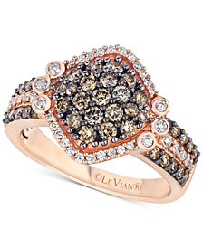 Le Vian Chocolatier® Diamond Cluster Ring (1-1/8 ct. t.w.) in 14k Rose Gold