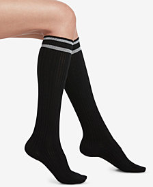 HUE® Metallic-Stripe Cable-Knit Knee Socks