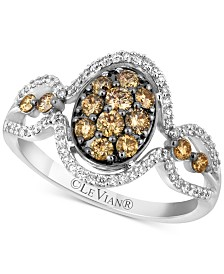 Le Vian Chocolatier® Diamond Oval Cluster Ring (3/4 ct. t.w.) in 14k White Gold