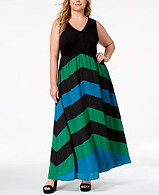 I.N.C. Plus Size Chevron Maxi Dress, Created for Macy's