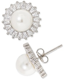 Giani Bernini Imitation Pearl & Cubic Zirconia Stud Earrings in Sterling Silver, Created for Macy's