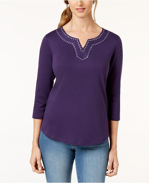 Scott Cassis Macy's Embellished for Top Cotton Karen Created dgnU8qHFHw