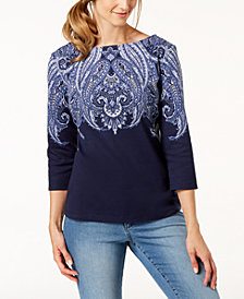 Karen Scott Partially-Printed Boat-Neck Top, Created for Macy's