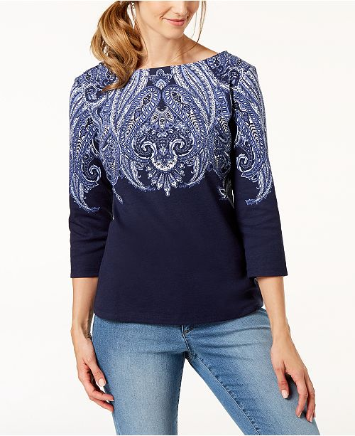 28336f535c57cf ... Karen Scott Partially-Printed Boat-Neck Top, Created for Macy's ...