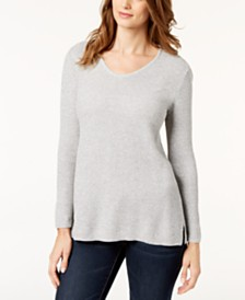 Karen Scott Cotton Textured Sweater, Created for Macy's