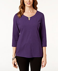 Karen Scott Hardware-Trim Keyhole Top, Created for Macy's