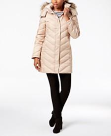 Kenneth Cole Petite Faux-Fur-Trim Hooded Puffer Coat