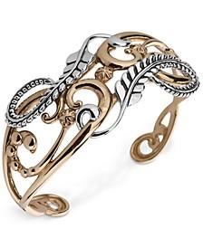 Two-Tone Fancy Openwork Cuff Bracelet in Sterling Silver & Brass