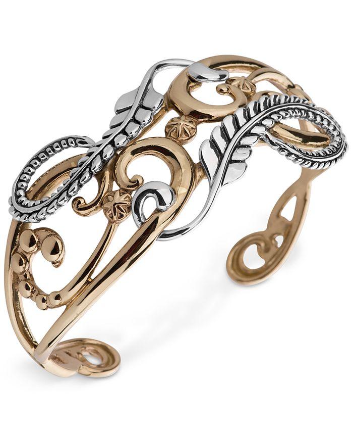 American West - Two-Tone Fancy Openwork Cuff Bracelet in Sterling Silver & Brass
