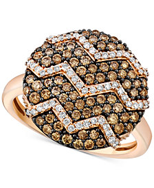 Le Vian Chocolatier® Diamond Zigzag Ring (9/10 ct. t.w.) in 14k Rose Gold