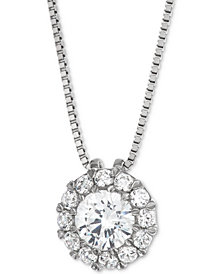 "Diamond Halo 18"" Pendant Necklace (1/2 ct. t.w.) in 14k White Gold"