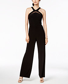 R & M Richards Mesh Cutout Jumpsuit