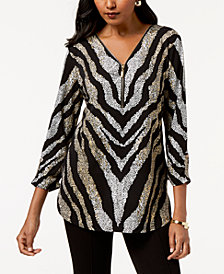 JM Collection Petite 3/4-Sleeve Zip-Front Zebra Top, Created for Macy's