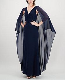 Calvin Klein Chiffon Cape Gown