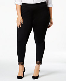 MICHAEL Michael Kors Plus Size Lace-Cuff Ponté-Knit Leggings