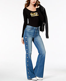 GUESS Button-Side Flare-Leg Jeans