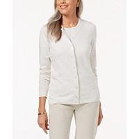 Karen Scott Flecked Cardigan Sweater (Winter White Combo)