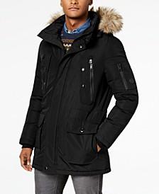 Men's Big & Tall Long Snorkel Coat with Faux-Fur Trimmed Hood