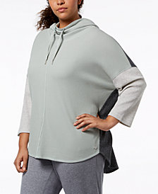 Calvin Klein Performance Plus Size Waffle-Knit Dolman-Sleeve Hoodie