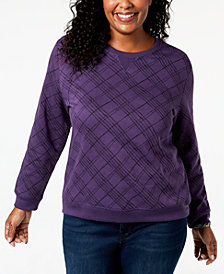 Karen Scott Plus Size Printed Crew-Neck Sweatshirt, Created for Macy's