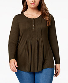 Style & Co Plus Size Pintuck Top, Created for Macy's