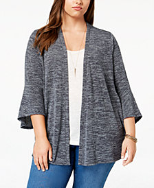 Style & Co Plus Size Lantern-Sleeve Open Cardigan, Created for Macy's