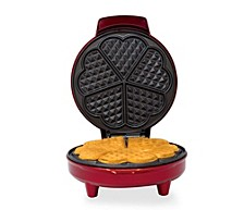 Red Metallic Heart Shape Waffle Maker