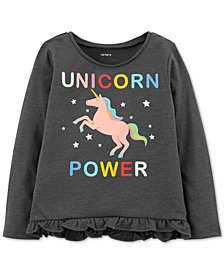Carter's Baby Girls Unicorn-Print Ruffled T-Shirt