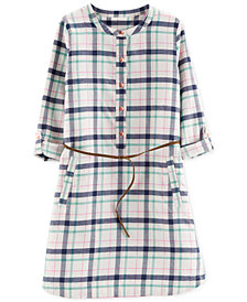 Carter's Little & Big Girls Belted Cotton Plaid Flannel Shirtdress