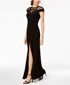 Adrianna Papell Sequin-Illusion Slit Gown