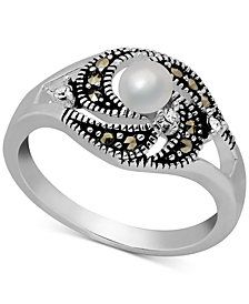 Freshwater Pearl (4mm), Marcasite & Crystal Ring in Fine Silver-Plate