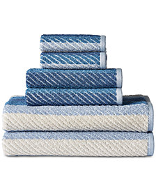 LAST ACT! Sunham Palazzo Blue Cotton 6-Pc. Towel Set