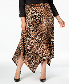 JM Collection Plus Size Animal-Print Handkerchief-Hem Skirt, Created for Macy's