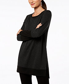 Ideology Long-Sleeve Tonal-Stripe Tunic, Created for Macy's
