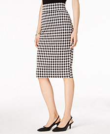 Alfani Petite Houndstooth-Print Skirt, Created for Macy's
