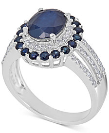 Sapphire (5 ct. t.w.) & Diamond (1/4 ct. t.w.) Ring in 10k White Gold