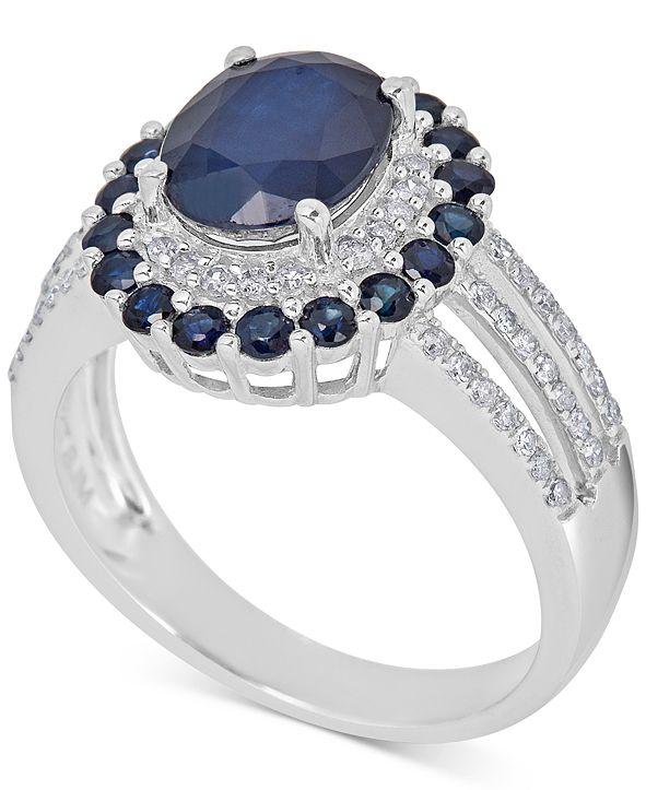 Macy's Sapphire (5 ct. t.w.) & Diamond (1/4 ct. t.w.) Ring in 10k White Gold